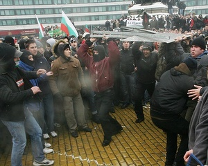 Protesters in Sofia Photo by Yuliana Nikolova (Sofia Photo Agency)--I didn't stick around to take photos