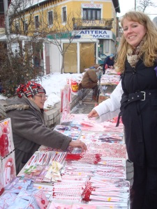 Me buying Martenitsas--Thanks for the uber-flattering picture of both of us, Max. We are both actually much better looking in person.