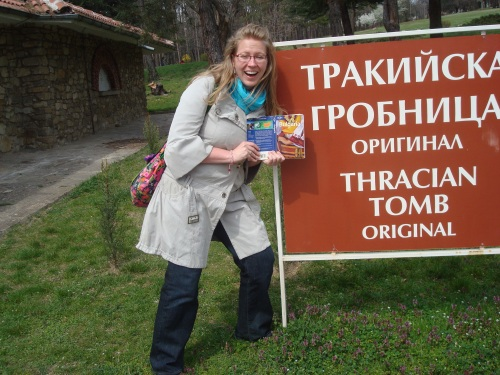 Me, my guide book and the sign for the Thracian Tomb