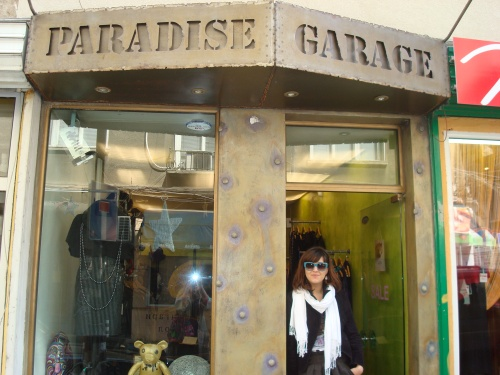 Marinela in front of her boutique Paradise Garage