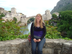 Me in front of the famous Mostar bridge