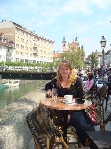 Me enjoying a coffee in Ljubljana